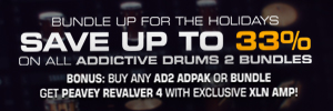 XLN Audio Christmas Deals have begun with 34% off their Addictive Drums 2 Artist Bundle + Free Peavey Revalver 4 Amp.