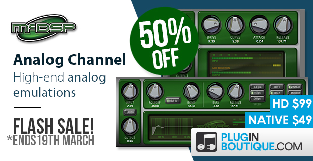 McDSP Analog Channel Flash Sale: Save 50% off at Plugin Boutique