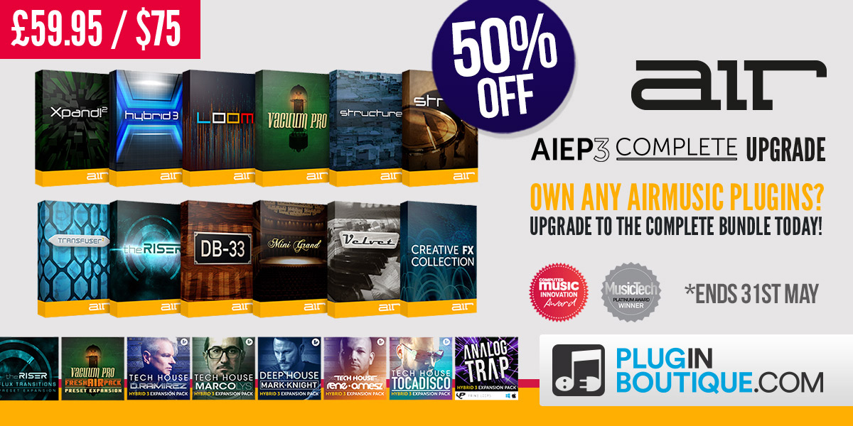 Air Music AIEP3 Complete Upgrade Sale; Buy now at Plugin Boutique