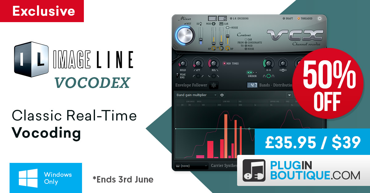 Image Line Vocodex Sale: Save 50% off exclusively at Plugin Boutique for a very limited time only!