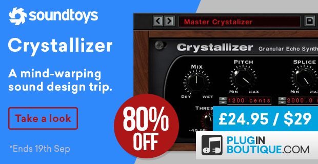Soundtoys Crystallizer Flash Sale, save 80% off at Plugin Boutique