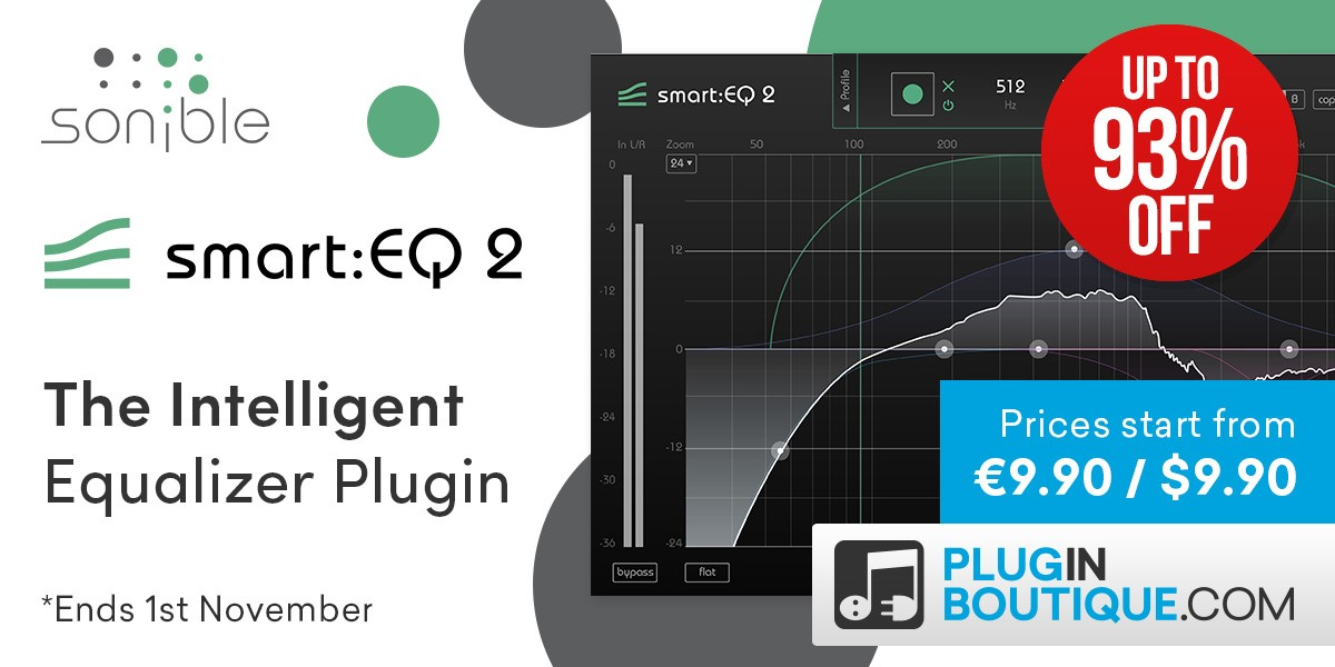 Sonible smart:EQ 2 Introductory Sale, save up to 93% off at Plugin Boutique