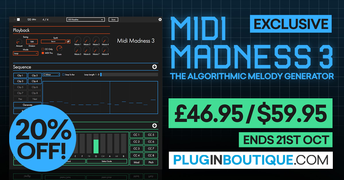 Midi Madness Introductory Sale (Exclusive): Save at Plugin Boutique
