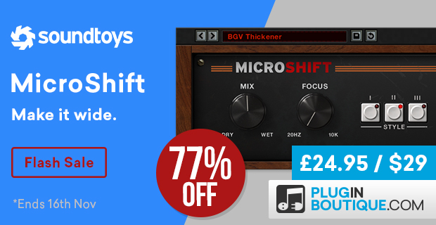 Soundtoys Microshift 48hour Flash Sale, save 77% off at Plugin Boutique