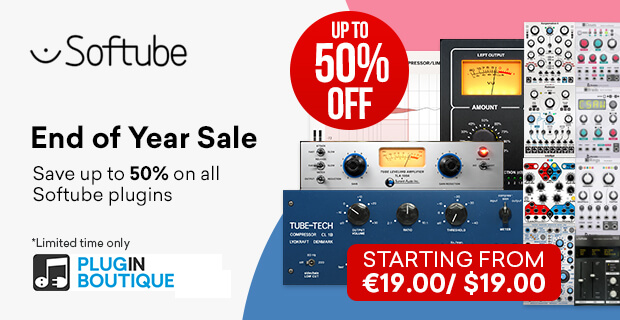 Softube End of Year Sale, save up to 50% off at Plugin Boutique