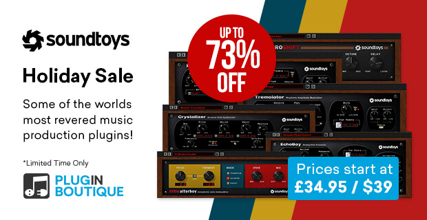 Soundtoys Holiday Sale, save up to 73% off at Plugin Boutique