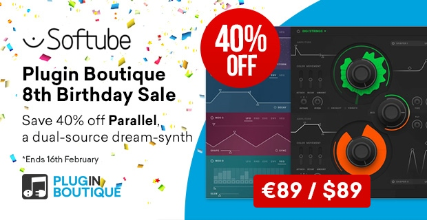Softtube Parallels Birthday Sale, save 40% off at Plugin Boutique