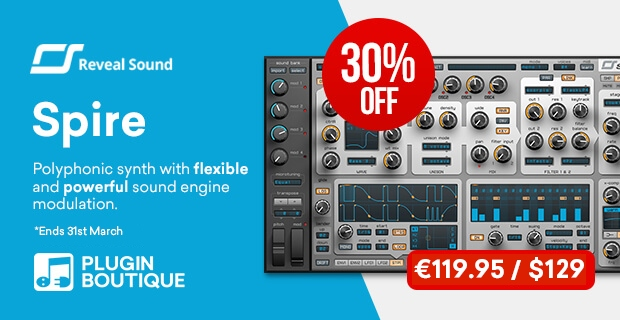 Reveal Sound Spire Sale, save 30% off at Plugin Boutique