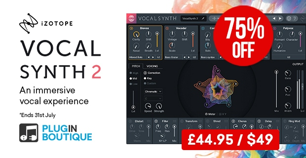 iZotope Vocalsynth2 sale, save 75% at Plugin Boutique