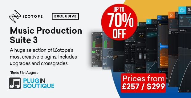 iZotope Music Production Suite 3 Sale, save up to 70% off at Plugin Boutique