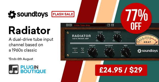 Soundtoys Radiator Flash Sale, save 77% off at Plugin Boutique