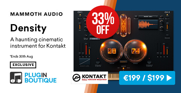 Mammoth Audio Density Introductory Sale (Exclusive), save 33% off at Plugin Boutique