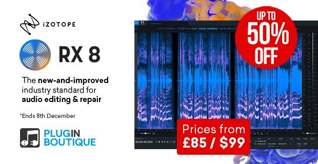 iZotope RX 8 Intro Sale, save up to 50% off at Plugin Boutique