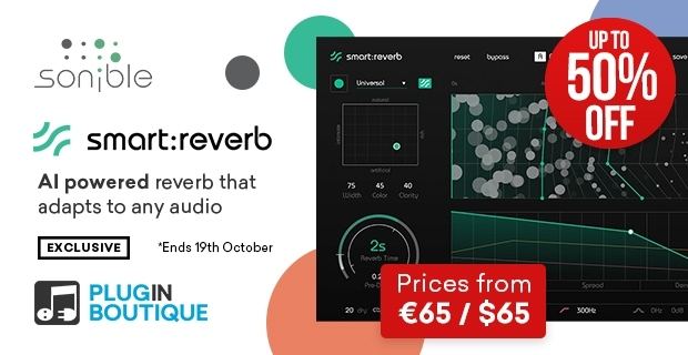 sonible smart:reverb Sale, save up to 50% off at Plugin Boutique