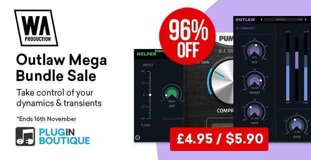 W.A Production Outlaw Mega Bundle Sale, save 96% off at Plugin Boutique