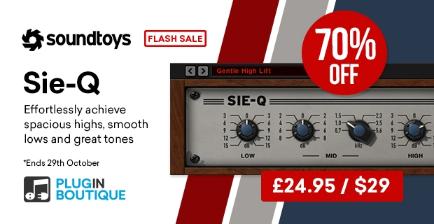 Soundtoy Sie-Q Flash Sale, save 70% off at Plugin Boutique