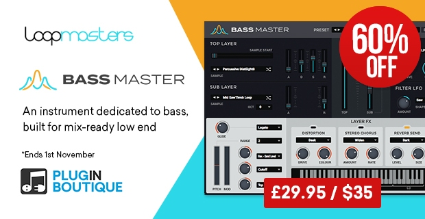 Loopmasters Bass Master Halloween Flash Sale, save 60% off at Plugin Boutique