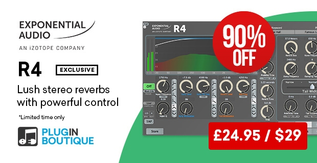 Exponential Audio R4 sale, save 90% off at Plugin Boutique