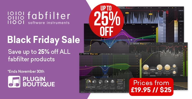 FabFilter Black Friday Sale, save 25% off at Plugin Boutique