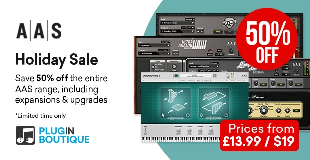 AAS Holidays Sale, save 50% off at Plugin Boutique