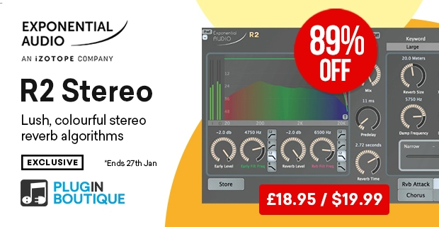 iZotope R2 Stereo, save 89% off at Plugin Boutique
