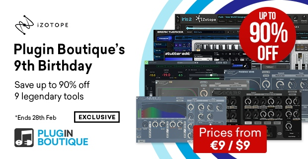 Plugin Boutique's 9th Birthday, save up to 90% off at Plugin Boutique