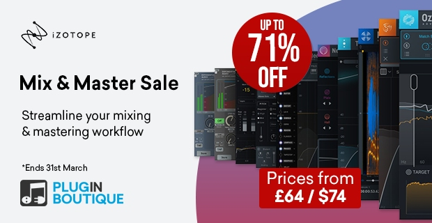iZotope Mix & Master Bundle Sale, save up to 71% off at Plugin Boutique