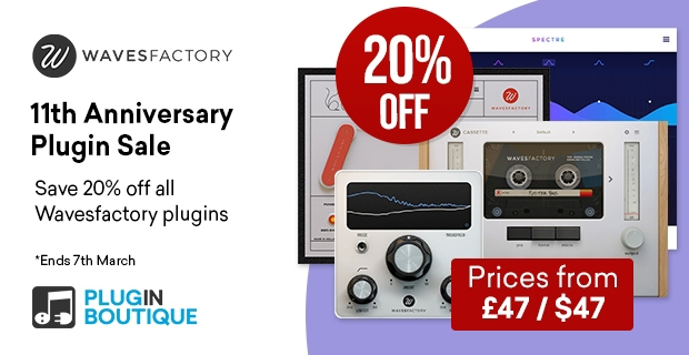 Wavesfactory Sale, save 20% off at Plugin Boutique